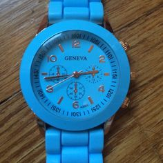 Geneva light blue watch with rose gold accents Never Worn! Light blue with rose gold trim watch. Stainless steel back.  Perfect for spring! Geneva Accessories Watches