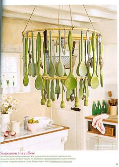 chandelier - wooden kitchen utensils (could be usable if attached on hooks Deco Luminaire, Luminaire Design, Wooden Kitchen, Kitchen Decor, Kitchen Storage, Green Kitchen, Kitchen Ideas, Luminaire Original, Kitchen Chandelier