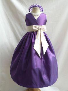 Flower Girl Dress PURPLE w/ Champagne VN for Baby Teen Children Toddler in Wedding Easter Bridesmaid Communion