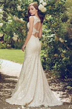 Fit-and-flare wedding dress - vintage-inspired gown with illusion plunging neckline and double-keyhole back -  Hope from Rebecca Ingram by @maggiesottero