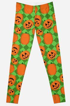 Halloween Pumpkin Pattern Leggings #pumpkins #halloween #trickortreat #jackolantern #spooky
