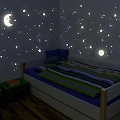 Etoiles Fluorescents et phosphorescents dans lobscurit/é Wall Sticker D/écoration Murale Chambre de b/éb/é Enfant remote.S Lune et /Étoile Autocollants Lumineux