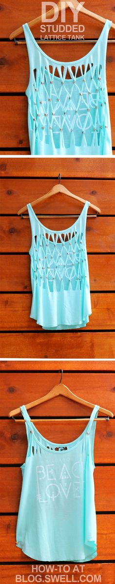 DIY Lattice Stud tank for the beach Summer Outfits, Cute Outfits, Diy Vetement, Diy Mode, Do It Yourself Fashion, Creation Couture, Cut Shirts, T Shirt Diy, Diy Clothing