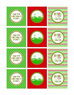 Festive red and green Happy Birthday Jesus cupcake toppers - FREE Printable download on Scribd from The Paper Cupcake.