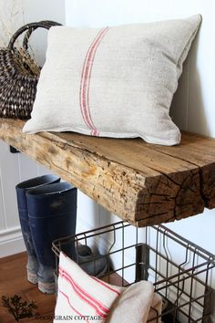 Barn Beam Floating Bench....I want to do this for shelfs in my kitchen.