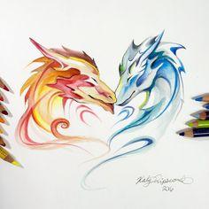 Dragon Cuddles by Lucky978.deviantart.com on @DeviantArt
