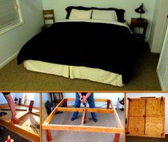 King Size Platform Bed, Diy Platform Bed, Easy Diy Projects, Home Projects, Master Bedroom, Bedroom Decor, Home Goods, Diy Stuff, Interior Design