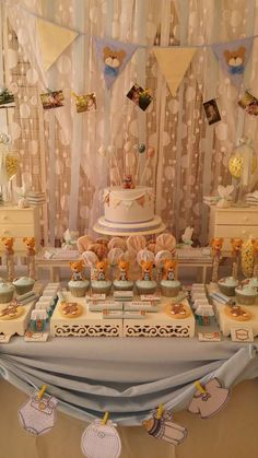 Teddy bear baby shower party dessert table! See more party planning ideas at CatchMyParty.com!