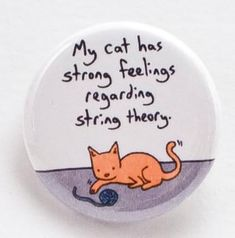 My cat has strong feelings regarding string theory - Pinback button