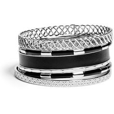 GUESS Selina Silver-Tone Bracelet Set ($27) ❤ liked on Polyvore featuring jewelry, bracelets, accessories, pulseiras, silver, guess jewelry, silver tone jewelry, sparkle jewelry, guess jewellery and silvertone jewelry