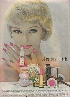 Beautiful 1959 ad for Arden Pink beauty products. #vintage #1950s #makeup #cosmetics #ads
