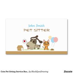 Cute Pet Sitting Service Business Card