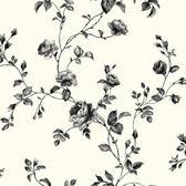 Kitchen & Bath Rose Toile Wallpaper KH7082 in Black and White $24