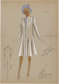 """André Studio Drawing """"Bell Silhouette"""" New York Fashion Illustration Sketches, Fashion Sketchbook, Fashion Sketches, Fashion Drawings, 1930s Fashion, Vintage Fashion, Dress Sketches, Fashion Studio, Vintage Sewing Patterns"""