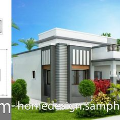 Home design plan with 6 bedrooms. Three-story house Modern style, 6 bedrooms, 5 bathrooms, suitable for living Or doing Minimalist House Design, Small House Design, Modern House Design, Minimalist Home, Modern Tropical House, Tropical Houses, Plantas Duplex, 3 Storey House, Home Theater Rooms