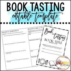 Book Tasting Template by The Engaging Station Reading Marathon, Book Tasting, English Language Arts, Book Title, Teacher Newsletter, Teacher Pay Teachers, New Books, Presentation, Classroom