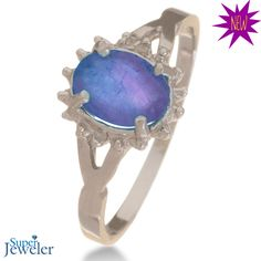 NEW ARRIVAL!: 3/4ct Tanzanite and Diamond Starburst Ring in Sterling Silver - $49.99