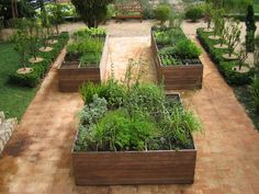 raised beds with a grid.