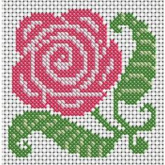 Rose flower for sweater intarsia. Cross Stitch Heart, Beaded Cross Stitch, Simple Cross Stitch, Cross Stitch Borders, Cross Stitch Flowers, Cross Stitch Kits, Cross Stitch Designs, Cross Stitching, Cross Stitch Embroidery