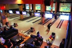 Grand Central Bowl | Portland, OR | Lounge Seating & Screens Above Lanes