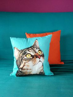 Tabby Cat Throw Pillows Gifts for Crazy Cat Ladies by PopZooSydney