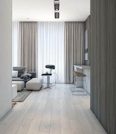 Apartment living room decor beige interior design 49 ideas for 2019 Modern Apartment Design, Apartment Interior, Apartment Living, Modern Apartments, Cozy Apartment, Apartment Furniture, Room Interior, Modern Design, Living Room Decor Curtains