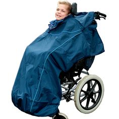 Waterproof Wheelchair Total Cover  Available in 3 different colours   The 'Total Cover' by Seenin is a stylish waterproof wheelchair cover, which gives head-to-toe protection from the wind and rain. It has been designed for use on wheelchairs with moulded frames, head supports and foot plates. It is available in a choice of colours