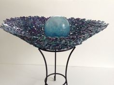 Large Shades of Blue Metallic Jigsaw Puzzle Bowl by SJPuzzles, $35.00