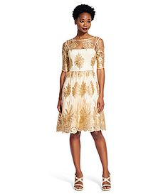 264c5bd7e0 Adrianna Papell Metallic Lace Fit-and-Flare Dress