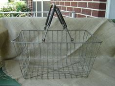 Vintage Industrial Large Wire Grocery Market Basket Farmhouse Chic