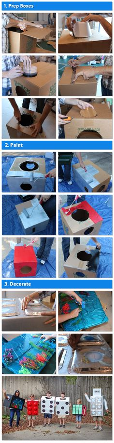 #DIY Halloween costumes from your leftover moving boxes! Perfect costumes from a cardboard box (who knew)? A Lego, Robot, and Rubik's Cube--oh my! Plus a few other cute Halloween costume ideas. Check out the tutorials!