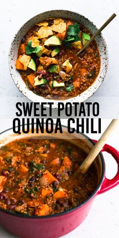 A delicious and hearty one pot Vegan Sweet Potato and Quinoa Chili. Ready in under one hour, Gluten Free, Low in Fat and made with common pantry staples. Vegan Dinner Recipes, Vegan Dinners, Whole Food Recipes, Soup Recipes, Vegetarian Recipes, Healthy Recipes, Healthy Soups, Baby Recipes, Whole30 Recipes