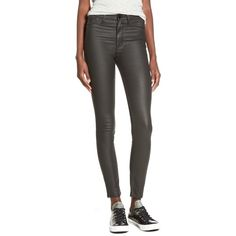 RES Denim Coated Skinny Jeans ($60) ❤ liked on Polyvore featuring jeans, zipper skinny jeans, skinny jeans, high-waisted skinny jeans, high waisted stretch skinny jeans and dark skinny jeans