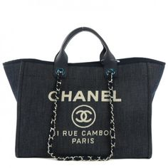 CHANEL Canvas Large Deauville Tote Dark Blue