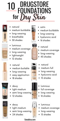 The 10 Best Drugstore Foundations for Dry Skin in Stay Hydrated All Day Finding the right foundation for your skin type can be tough, right? I know the struggle! If you have dry skin, this post is for you! I'm sharing the best drugstore radiant, lumi Primer For Dry Skin, Mask For Dry Skin, Oil For Dry Skin, Lotion For Dry Skin, Moisturizer For Dry Skin, Dry Skin Skincare, Tinted Moisturizer, Best Drugstore Foundation, Drugstore Makeup Dupes