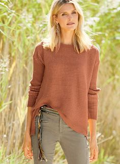 Our boxy, ribbed cotton pullover is over-dyed for a sculptural, vintage effect. Detailed with a boatneck, drop shoulders, side slits and a hem that steps longer in back. Now: $129.00 - $199.00