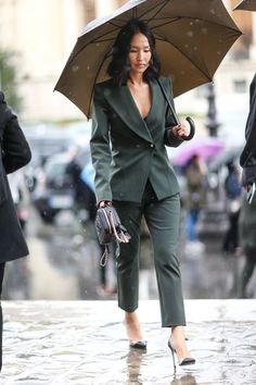 STYLECASTER | 25 Ways to Wear a Monochromatic Outfit | Forrest Green Pantsuit