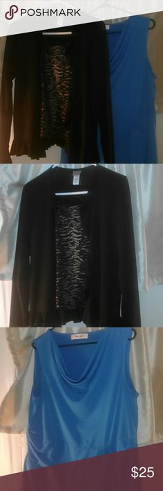 Blouses Two blouses.  Black blouse with a black and silver metallic built in blouse and a flared and ruffle decor at the lower neck, size S.  A blue blouse Size medium with a side bow and  scalloped at the neckline.  BOTH BLOUSES ARE TOGETHER!!!!    PLEASE MAKE OFFERS!!!!   NO trades. Tops Blouses