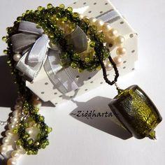 Olivine SilverFoil Necklace LampWork Pendant Necklace Spiral DNA Hand Sewn Miyuki Seedbead Necklace Necklace - Handmade by Ziddharta by Ziddharta on Etsy