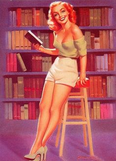 Blond bbw in library