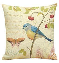 Ularma Peinture des oiseaux impression teinture canapé lit Home Decor Taie d'oreiller Housse de coussin (B): Matériel : lin Taille : 45 cm…
