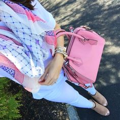 IG @mrscasual <click through to shop this look> scarf.  Rebecca minkoff mini perry satchel. White jeans.
