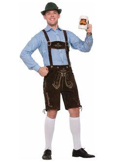 Blue Gingham Oktoberfest Lederhosen Men Shirt