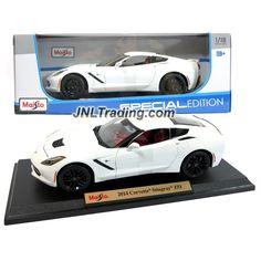 "Maisto Special Edition Series 1:18 Scale Die Cast Car Set - White Sports Coupe 2014 CORVETTE STINGRAY Z51 with Base (Dimension: 9-1/2"" x 3-1/2"" x 3"")"