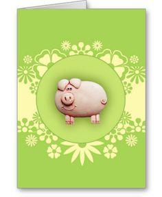Cute Green Pig Greeting Card
