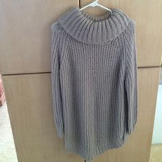 Taupe tunic cowl sweater This chunky knit sweater is so comfy. It's a tunic length with side slits and taupe color. Bought at BP Nordstrom. Perfect with leggings . True to size bp Sweaters Cowl & Turtlenecks