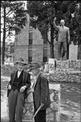 ITALY. Basilicata. Matera. 1973. Statue of Alcide de Gasperi, Italian statesman. Cartier-Bresson