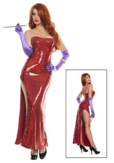 Exclusive Deluxe Sequin Hollywood Singer Costume - Jessica Rabbit costume