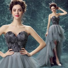 Find More Evening Dresses Information about 2016 Long Black Grey Feathers High Low Strapless Tulle Train Evening Ball Gowns Party Formal Women Dresses Size 2 4 6 8 10 12 14,High Quality gown evening dress,China gown women Suppliers, Cheap dresses emerald from Keliang Store on Aliexpress.com