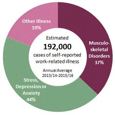 5% of people suffer from an illness that they believe to be work-related totalling an estimated 192,000-37% of which are musculoskeletal disorders, 44% stress, depression and anxiety, and the rest being other illnesses